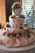 Wedding Reception Centerpiece flowers and wedding cake decorations: Image